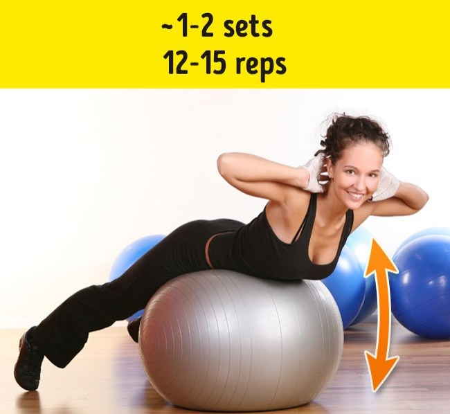 Upper back lifts on stability ball