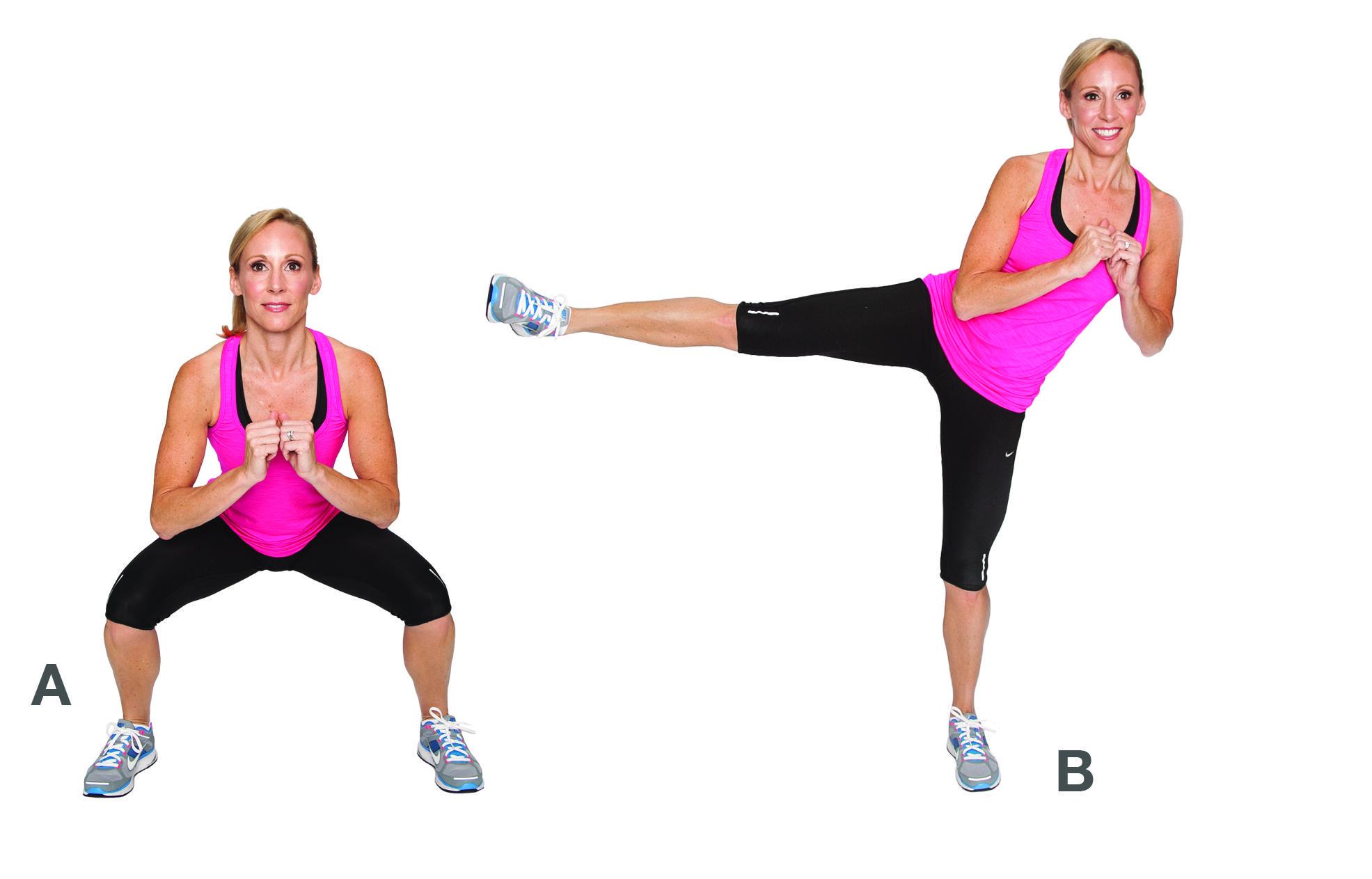 6. Squats with Side Kicks