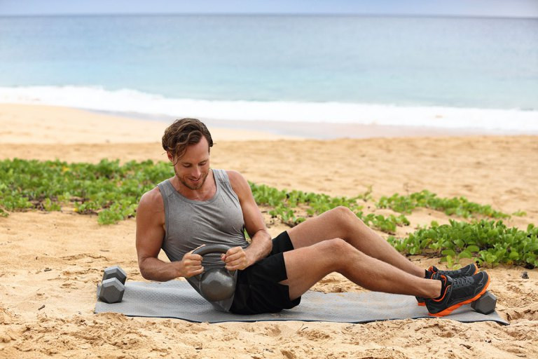 Dumbbell abs twist